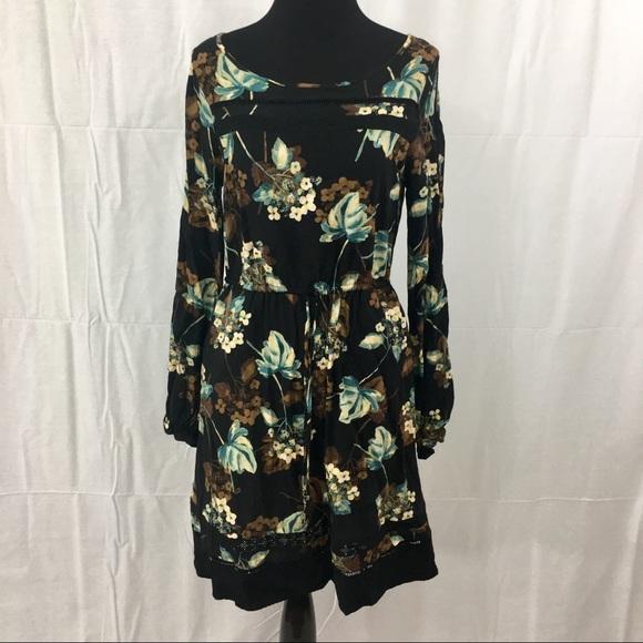 Lc Lauren Conrad Dresses Long Sleeve Black Floral Dress Poshmark